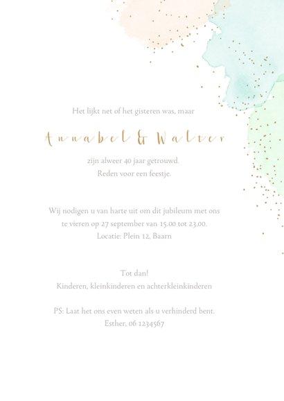 Jubileumkaart waterverf goudstippels 3