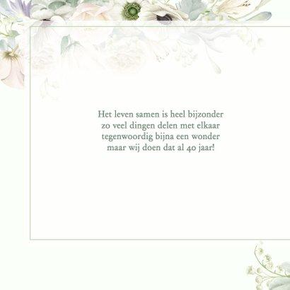 Jubileumkaart witte rozen en anemonen 2