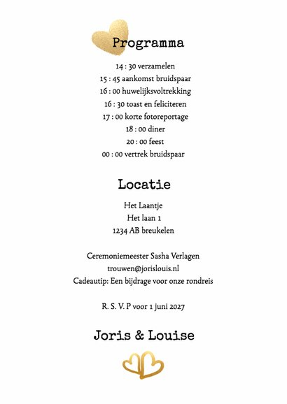 Kalender Mr & Mrs goud - BK 3