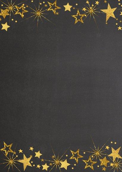 Kerst feestelijke  fotokaart gouden sterren staand formaat 2