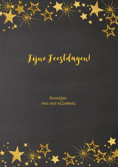 Kerst feestelijke  fotokaart gouden sterren staand formaat 3