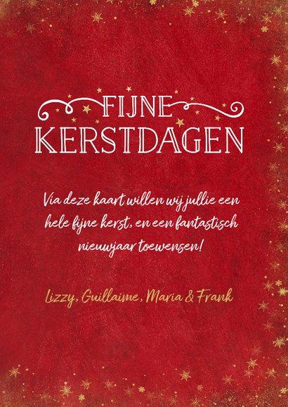 Kerst fotocollage kaart met rode achtergrond en sterren goud 3