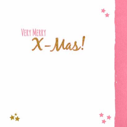 Kerst lief fotokaartje roze goud 3