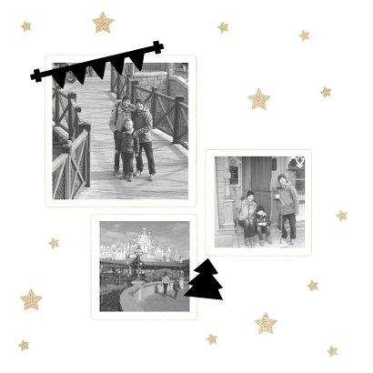 Kerstkaart 2019 met tekstbanners en gouden sterren 2