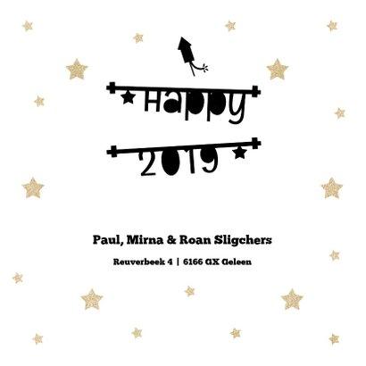 Kerstkaart 2019 met tekstbanners en gouden sterren 3