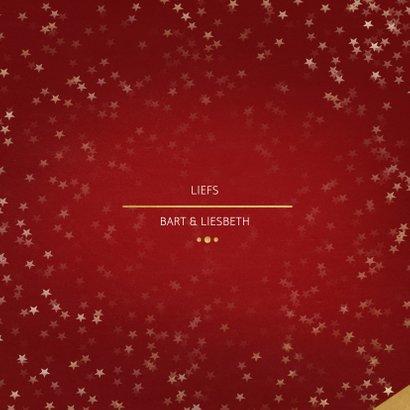 Kerstkaart Christmas rood met foto en goud 3