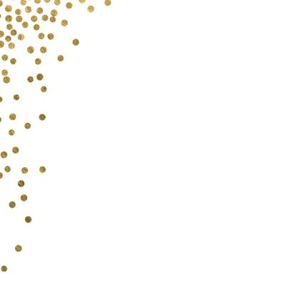 Kerstkaart confetti goud wit 2