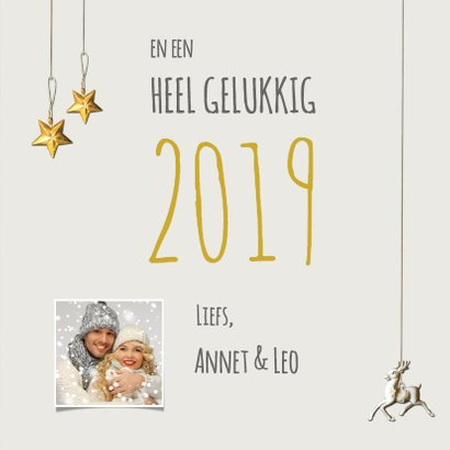 Kerstkaart stijlvol eigen foto rendier 2019 3