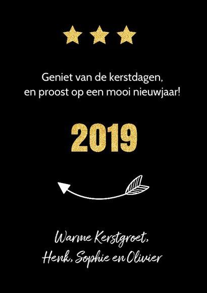 Kerstkaart fotocollage zwart goud 2019 3