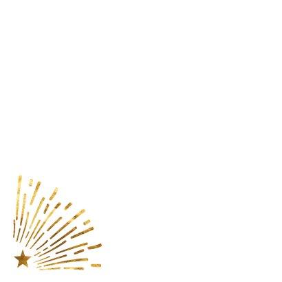 Kerstkaart gouden sterrenregen 2
