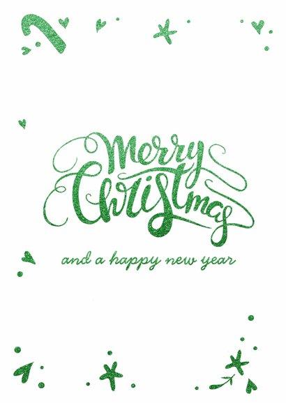 Kerstkaart Holly Jolly - glitter groen - LO 2