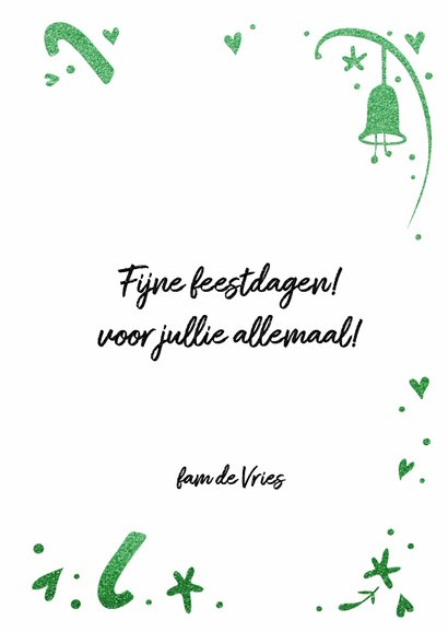 Kerstkaart Holly Jolly - glitter groen - LO 3