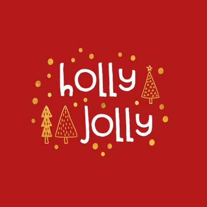 Kerstkaart 'holly jolly' goudlook 2