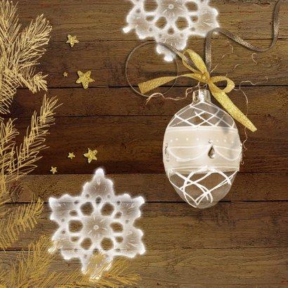 Kerstkaart hout goud chique 2