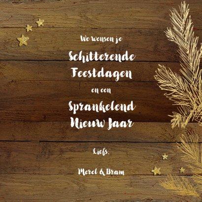 Kerstkaart hout goud chique 3