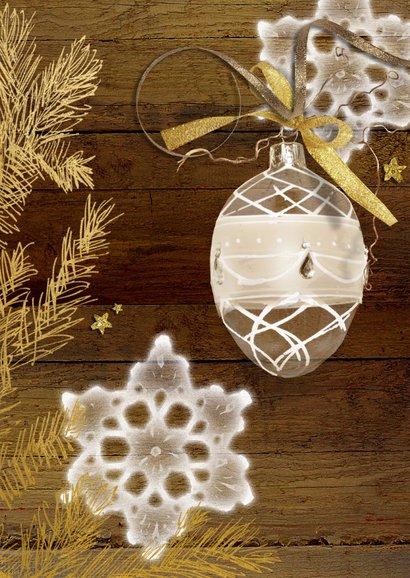 Kerstkaart hout goud met eigen foto 2