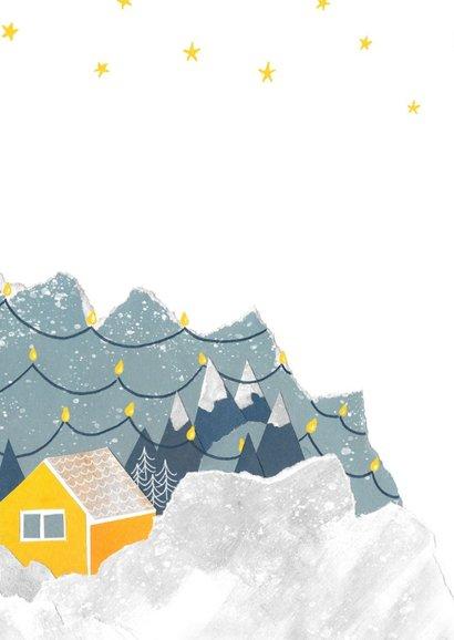 Kerstkaart huisje in de bergen 2