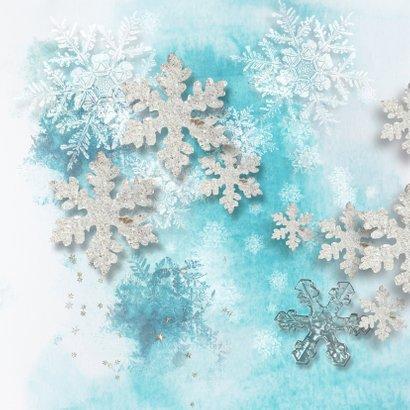 Kerstkaart ijsblauw winter 2