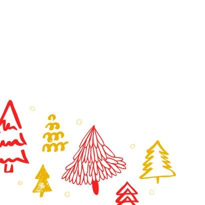 Kerstkaart kerstbomen rood en goud 2