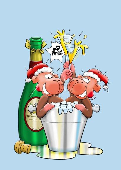 Kerstkaart met aapje en champagne - HE 3