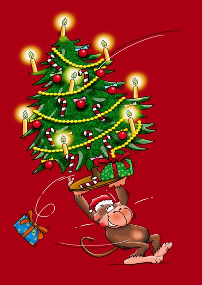 Kerstkaart met aapjes en champagne - HE 3