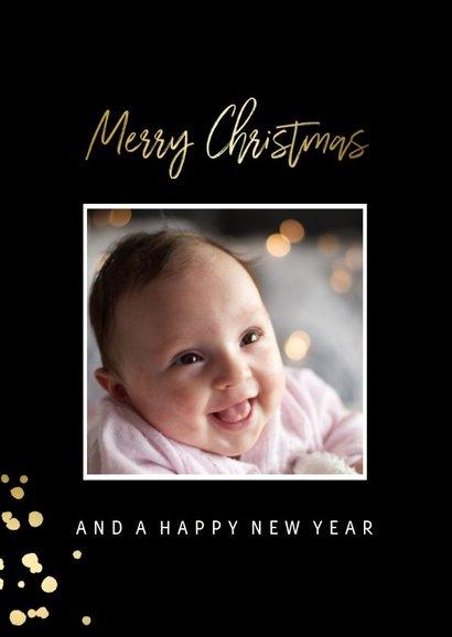 Kerstkaart met gouden confetti en foto 2