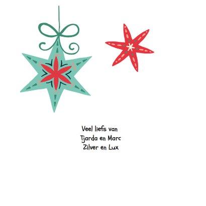 Kerstkaart met kerststerren en een letterslinger  2