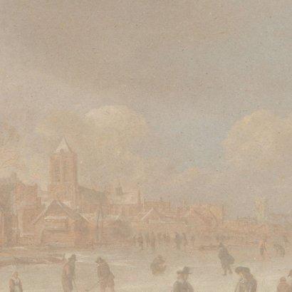 Kerstkaart met schilderij Aert van der Neer 2