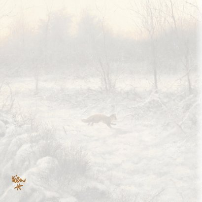 Kerstkaart met wintertafereel rennende vos in sneeuw 2