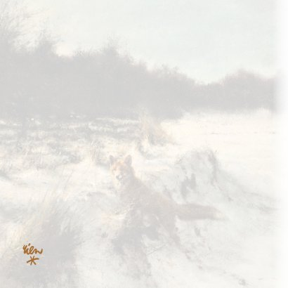 Kerstkaart met wintertafereel 'Vos in open bos' 2
