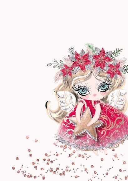 Kerstkaart recht engeltje met zilverglitter 2