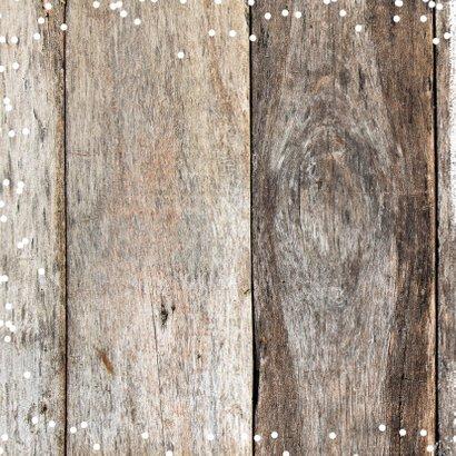 Kerstkaart vierkant sneeuw hout 2