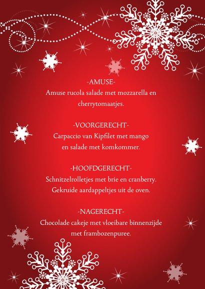 Kerstmenukaart rood design 3