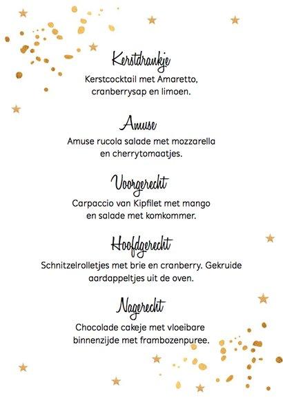 Kerstmenukaart gouden confetti 3