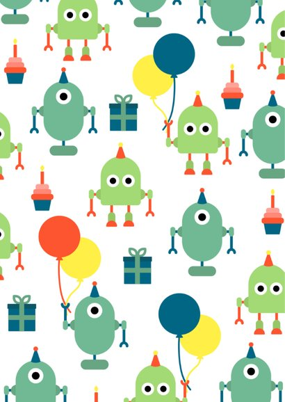Kinderfeestje kaart met feestende robots 2
