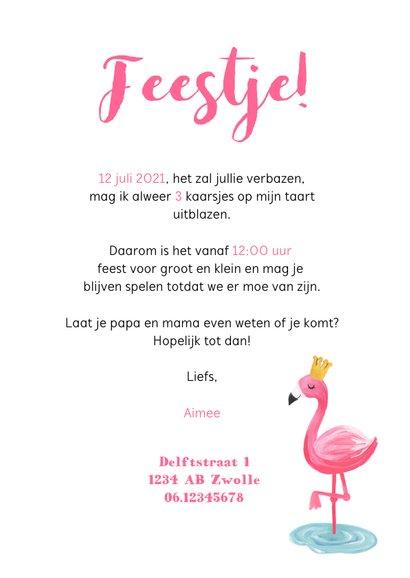 kinderfeestje uitnodiging hip voor meisje met flamingo 3