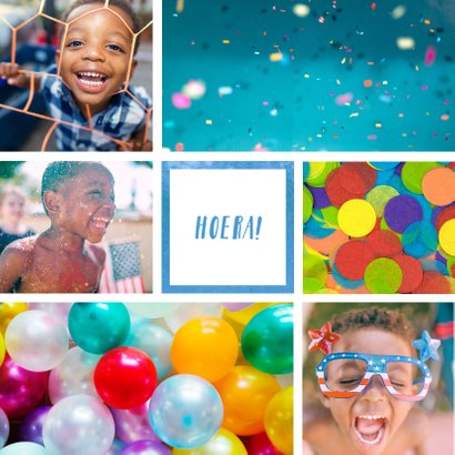 Kinderfeestje uitnodiging met 6 foto's blauw 2