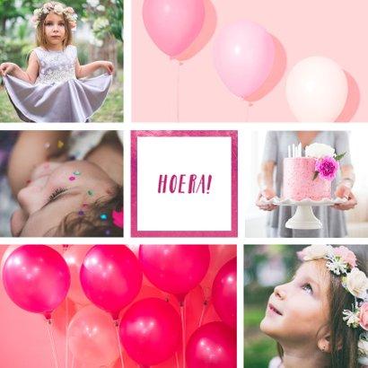 Kinderfeestje uitnodiging met 6 foto's roze 2