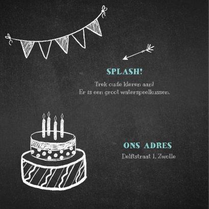 Kinderfeestje uitnodiging stoer krijtbord 2