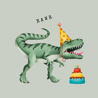 Kinderfeestje uitnodiging stoer met T-rex en taart 2
