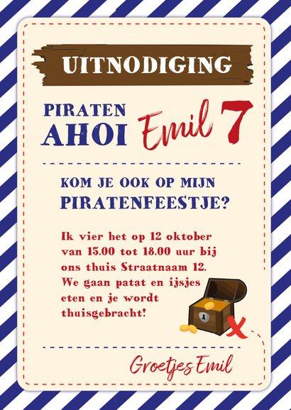 Kinderfeestje uitnodiging voor een piratenfeest 3