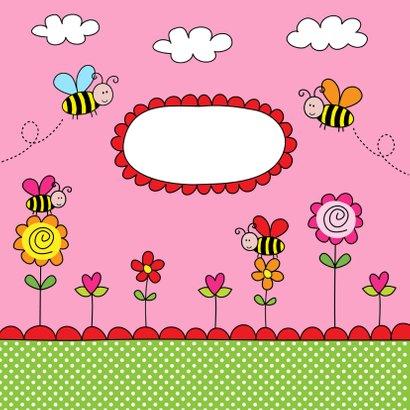 Kinderkaart bijtjes roze 2
