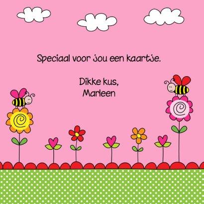 Kinderkaart bijtjes roze 3