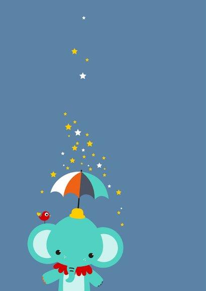 Kinderkaart - Olifantje met paraplu en sterren 2