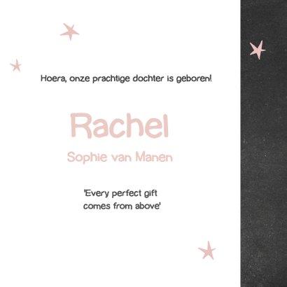 Krijtbord geboortekaartje Rachel 3