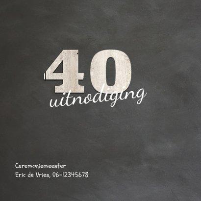 Krijtbord uitnodiging 40 jaar getrouwd - 40 cijfers hout 2
