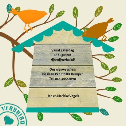 Leuk verhuisbericht met vogelhuis en vogels op takken 3