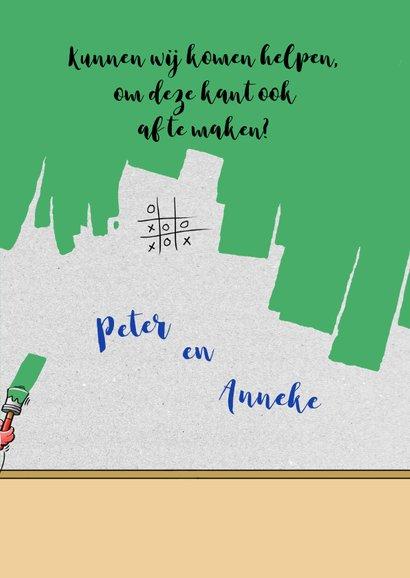Leuke felicitatiekaart met aanpasbare groene kleur van verf 3