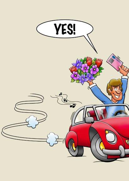Leuke geslaagd kaart voor man rode auto rijbewijs en bloemen 3