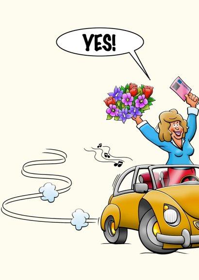 Leuke geslaagd kaart voor vrouw, auto rijbewijs en bloemen 3